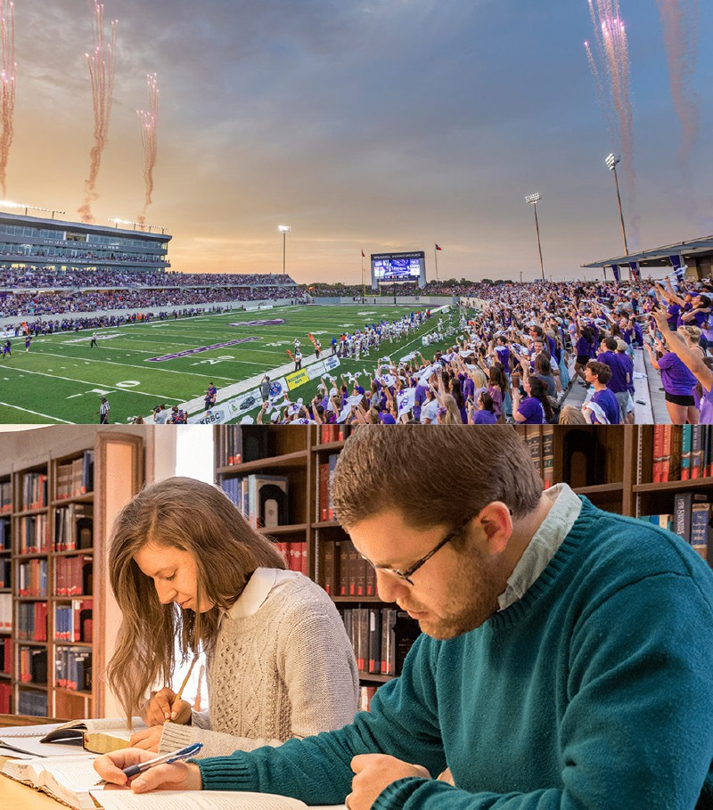 ACU photo collage of football field with fans and students in library
