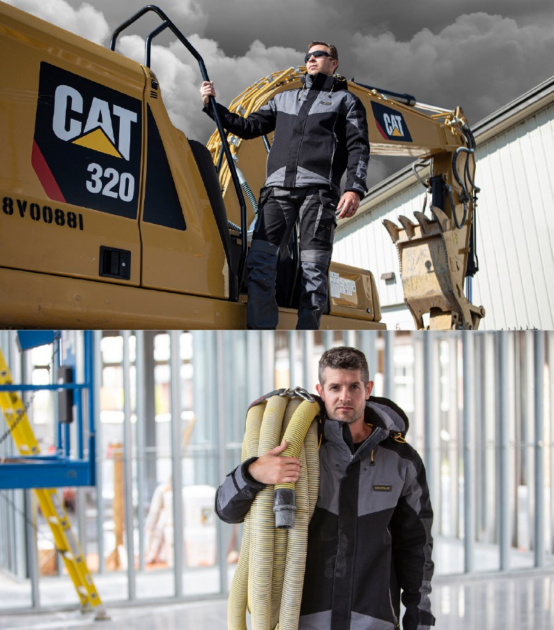 SRI Group photo collage of man standing on Caterpillar heavy duty equipment and mak holding hoses at a construction site.