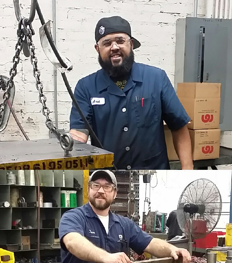 Wrought Washer photo collage of men smiling and working at manufacturing facility.